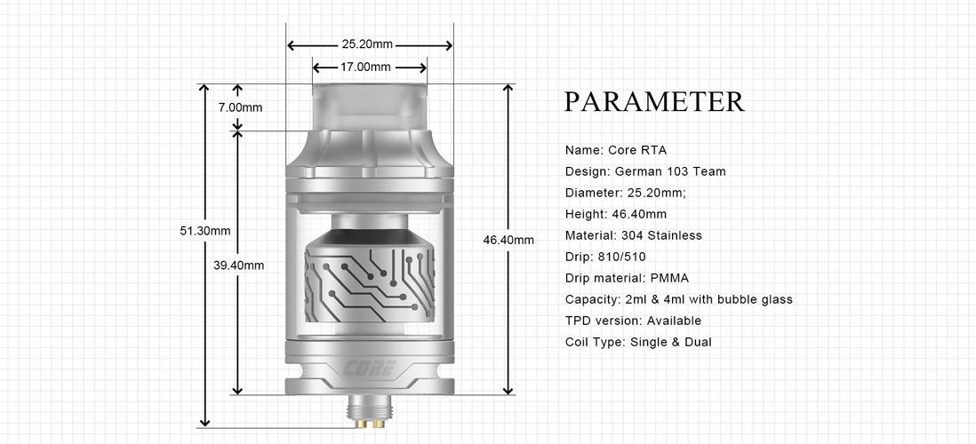 Vapefly Core RTA parameters