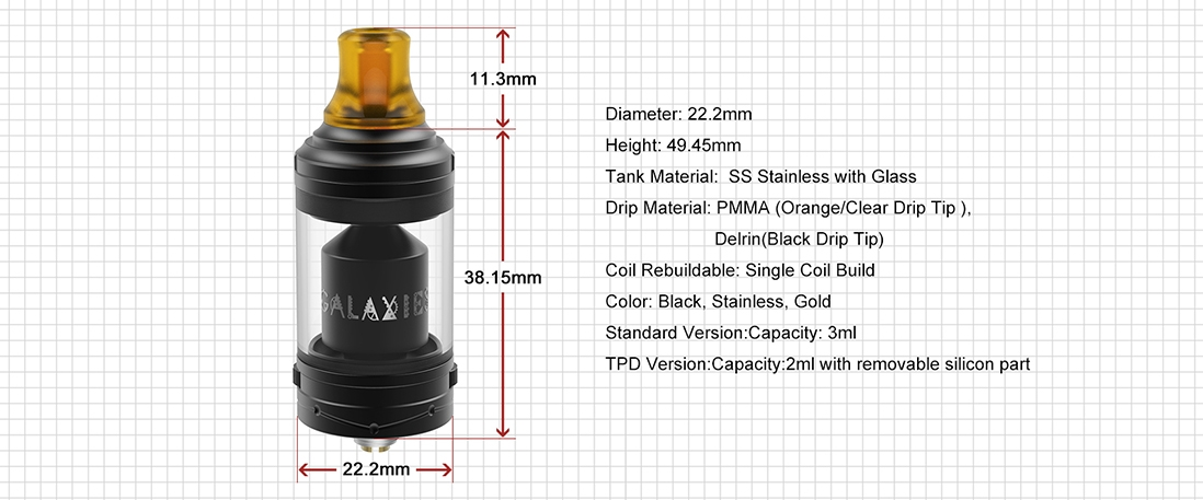 Vapefly Galaxies MTL RTA Parameter