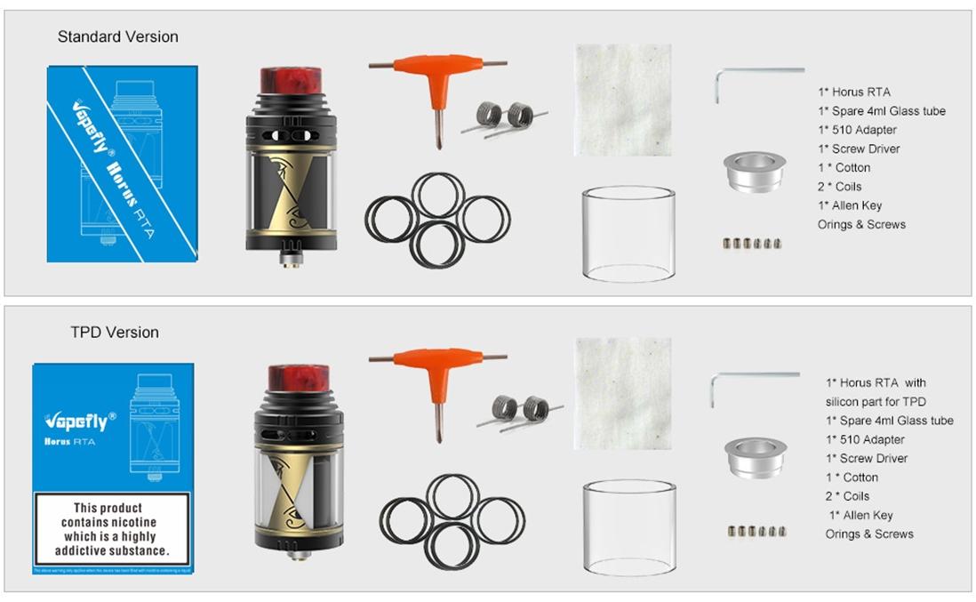 Vapefly Horus RTA Packing List
