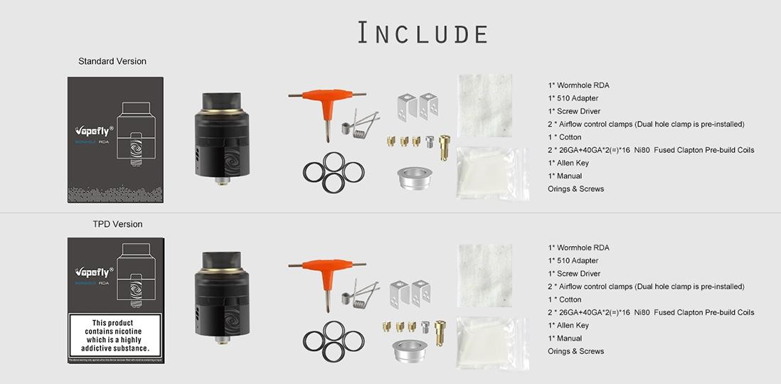 Vapefly Wormhole RDA Packing List