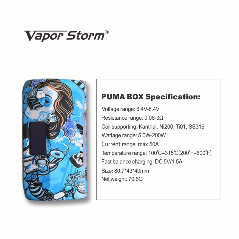 Vapor Storm Puma 200W Box Kit Parameter
