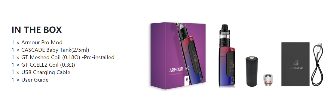 Vaporesso Armour Pro Kit 2ml package