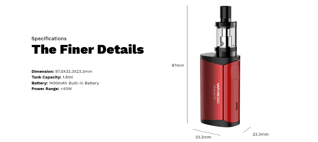 Vaporesso Drizzle Fit Kit Parameters