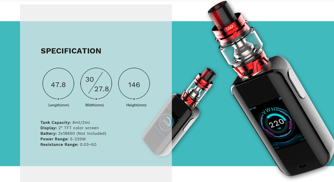 Vaporesso LUXE with SKRR Kit parameters
