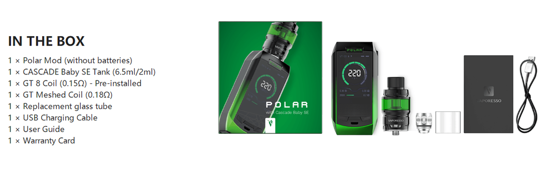 Vaporesso Polar with CASCADE Baby SE Package