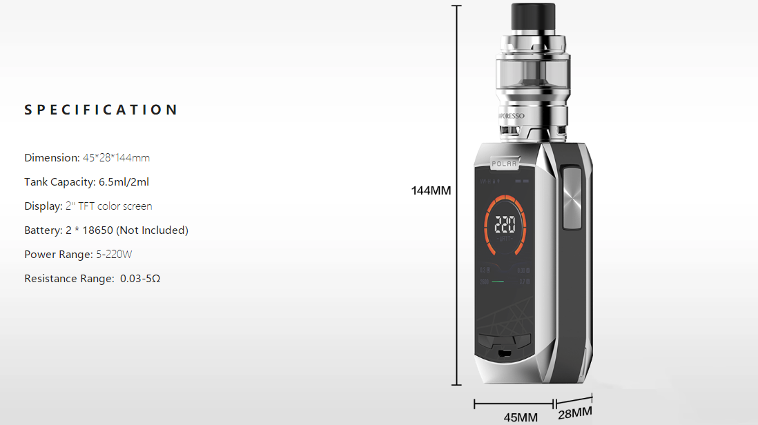 Vaporesso Polar with Cascade Baby SE Kit parameters
