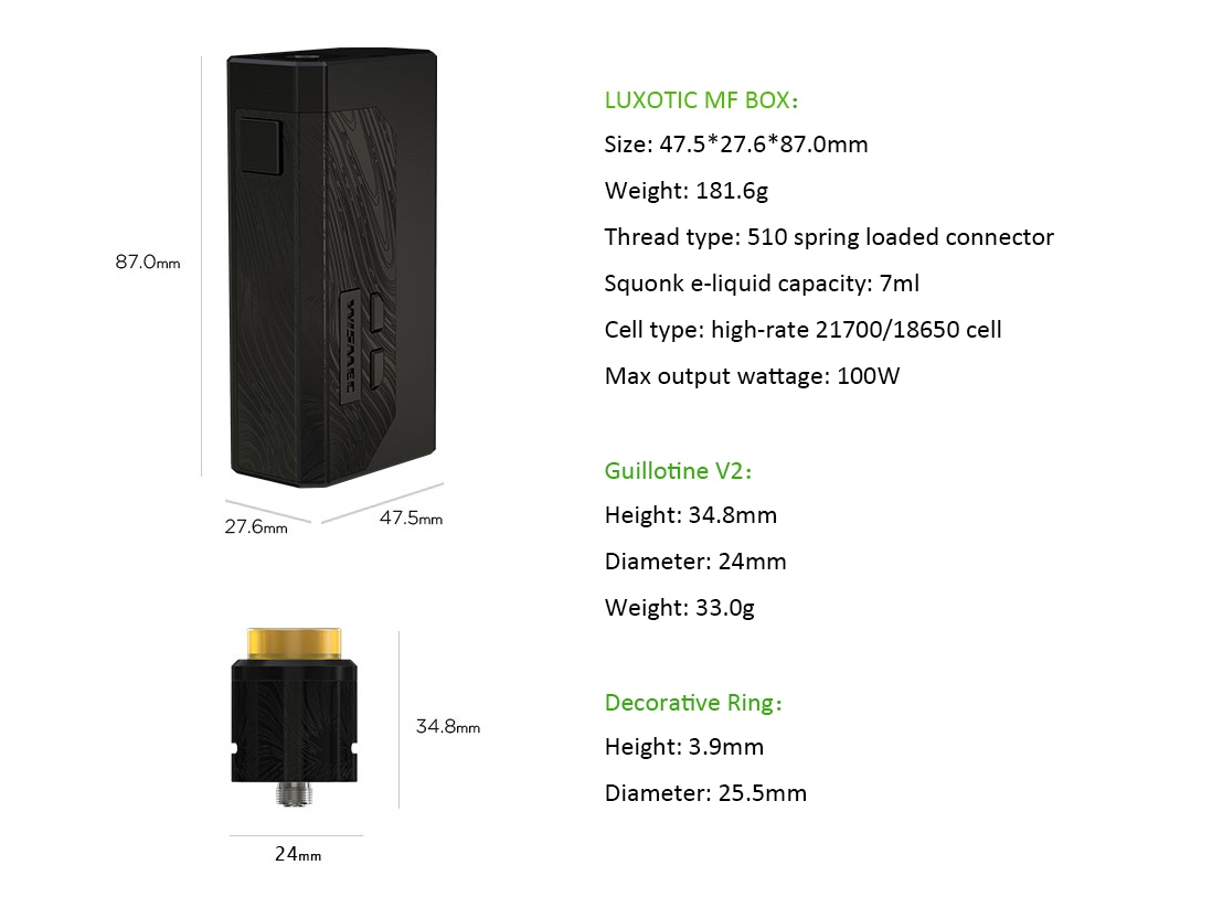 Wismec LUXOTIC MF Box Kit Parameters