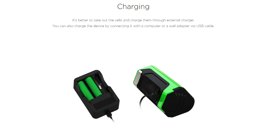 Wismec LUXOTIC DF BOX Mod Charging