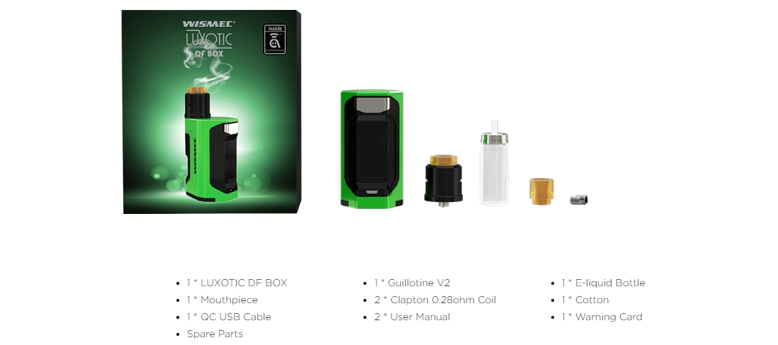 Wismec LUXOTIC DF BOX with Guillotine V2 Kit Packing List