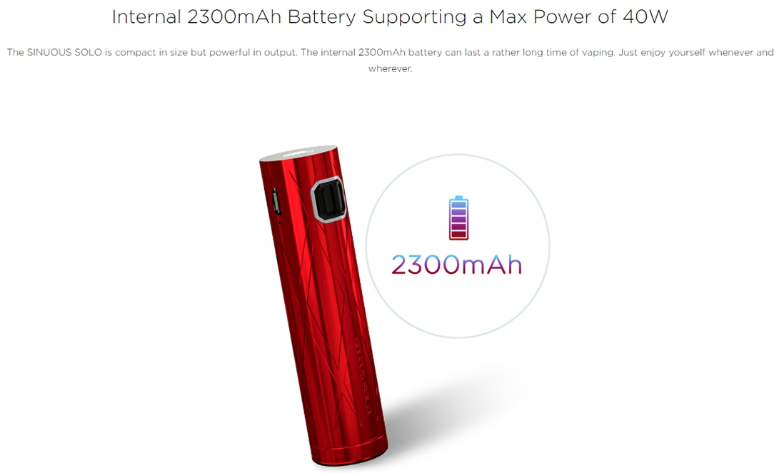 Wismec SINUOUS SOLO Battery Capacity