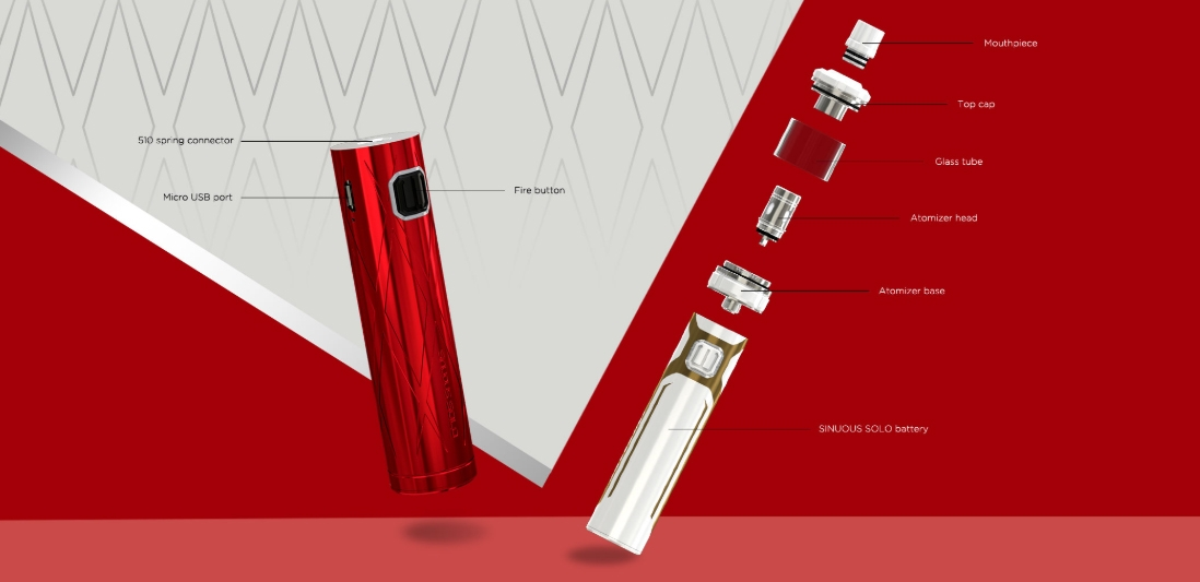 Wismec SINUOUS SOLO with AMOR NS Pro Kit Components