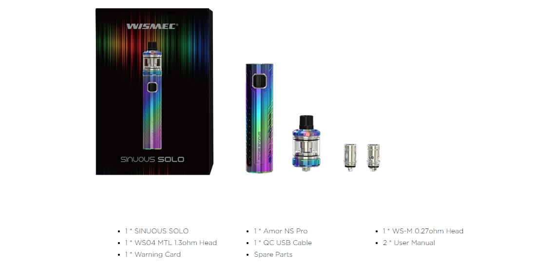 Wismec SINUOUS SOLO with AMOR NS Pro Kit Packing List
