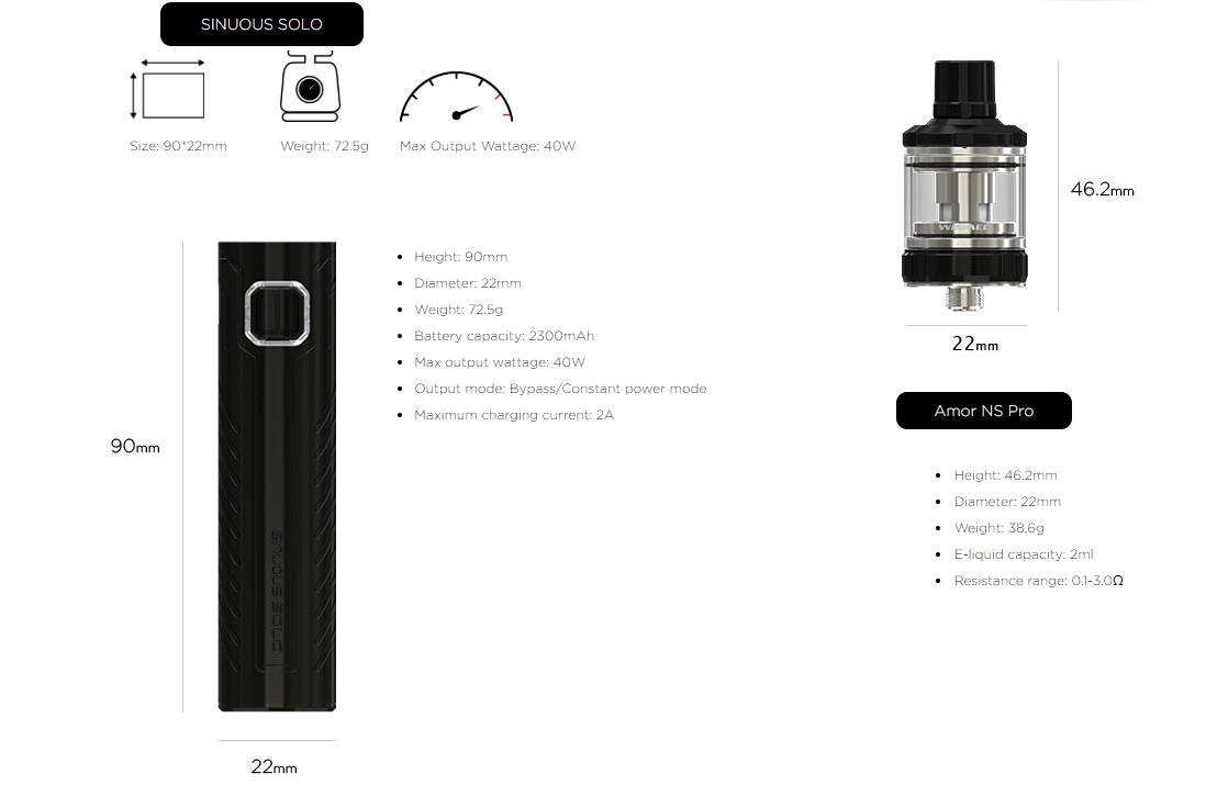 Wismec SINUOUS SOLO with AMOR NS Pro Kit Parameter