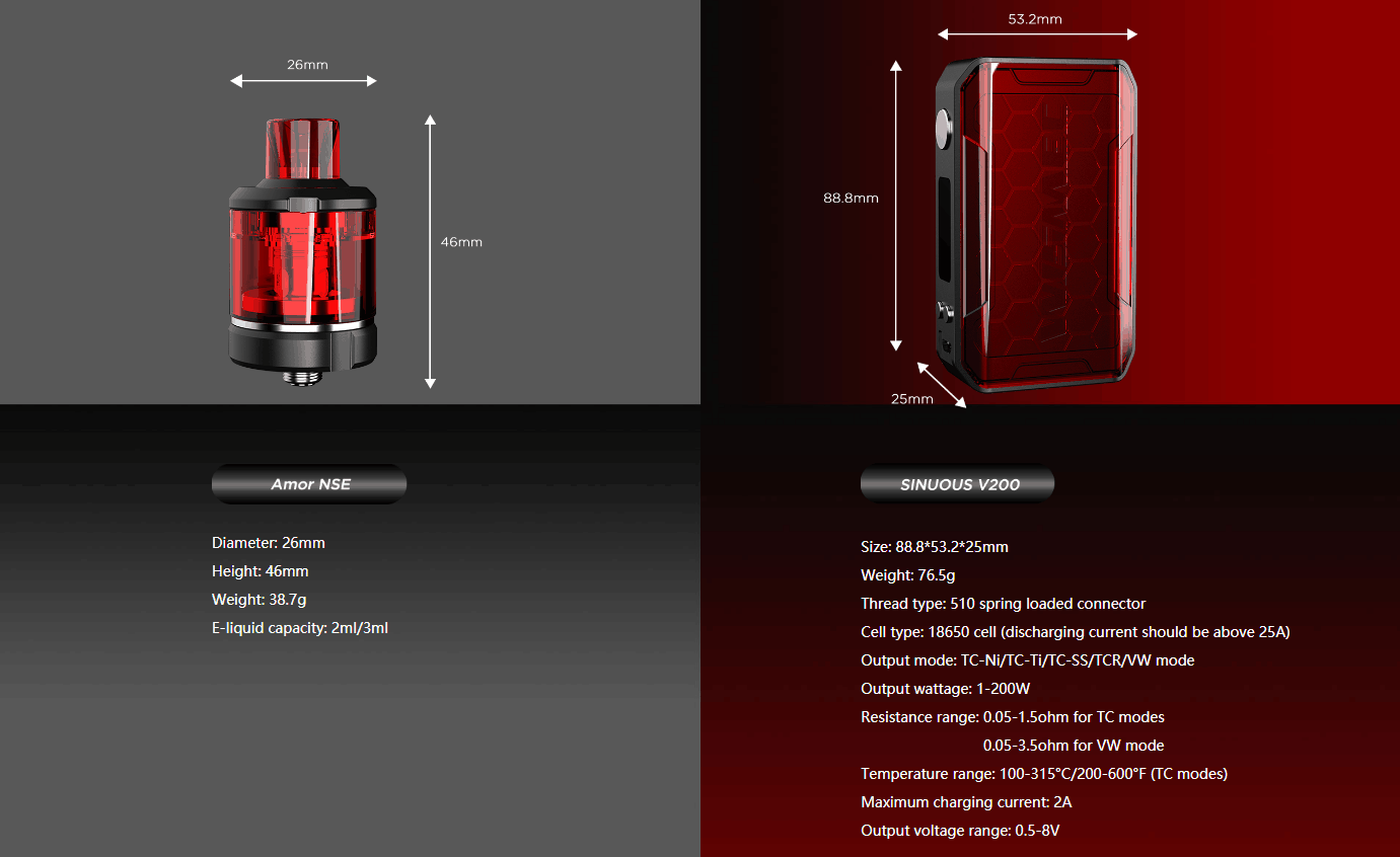 Wismec SINUOUS V200 Kit Parameters