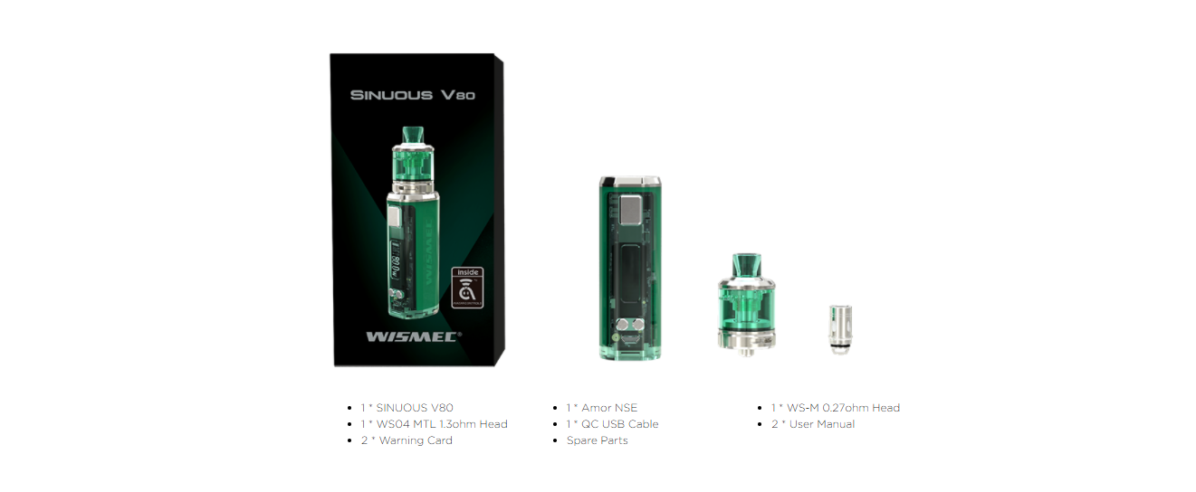 wismec sinuous v80 kit Package