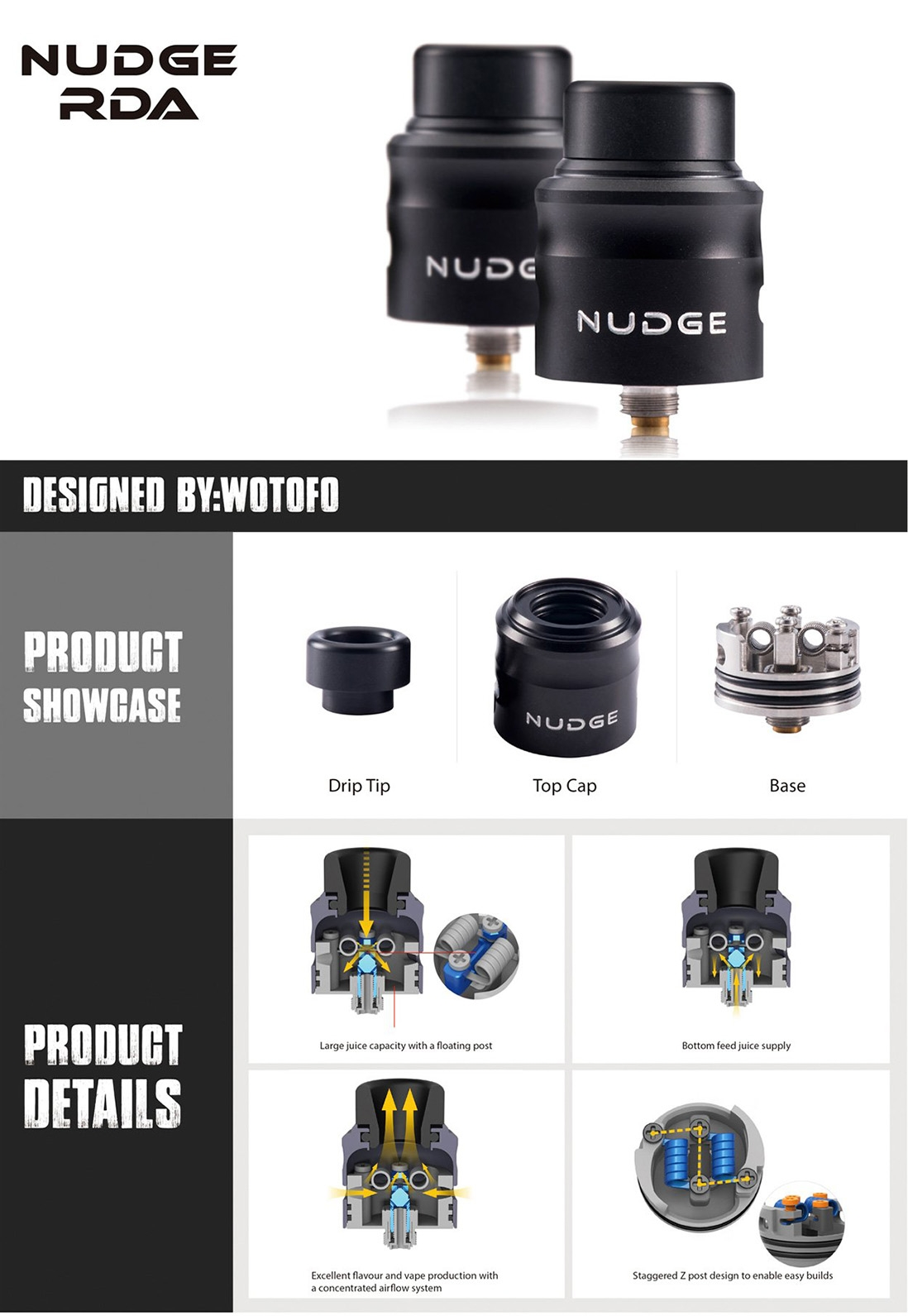 Wotofo Nudge RDA 24mm Features