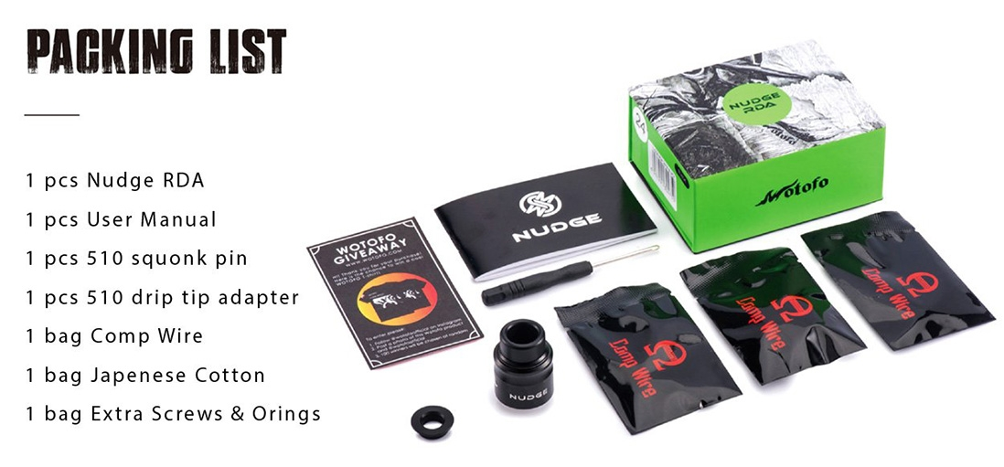 Wotofo Nudge RDA 24mm Packing List