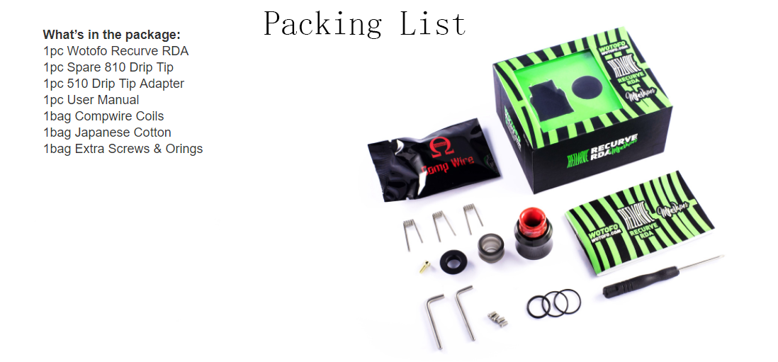 Wotofo Recurve RDA Packing List
