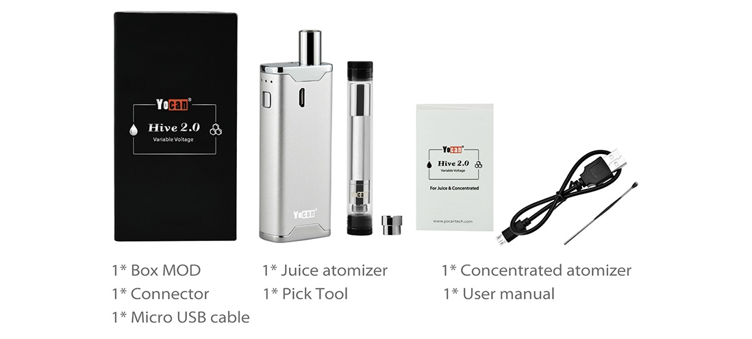 Yocan Hive 2.0 Kit Package List